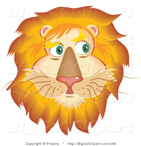 Big Cat Vector Clipart of a Handsome Fluffy Lion Face with a Golden Mane