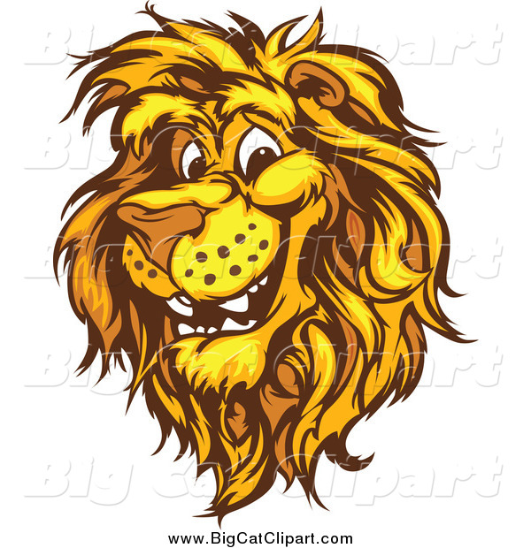 Big Cat Vector Clipart of a Happy Male Lion Head
