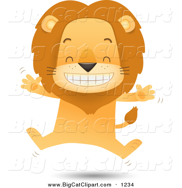 Big Cat Vector Clipart of a Happy Male Lion Jumping
