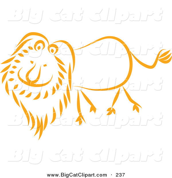 Big Cat Vector Clipart of a Happy Orange Lion Walking Left