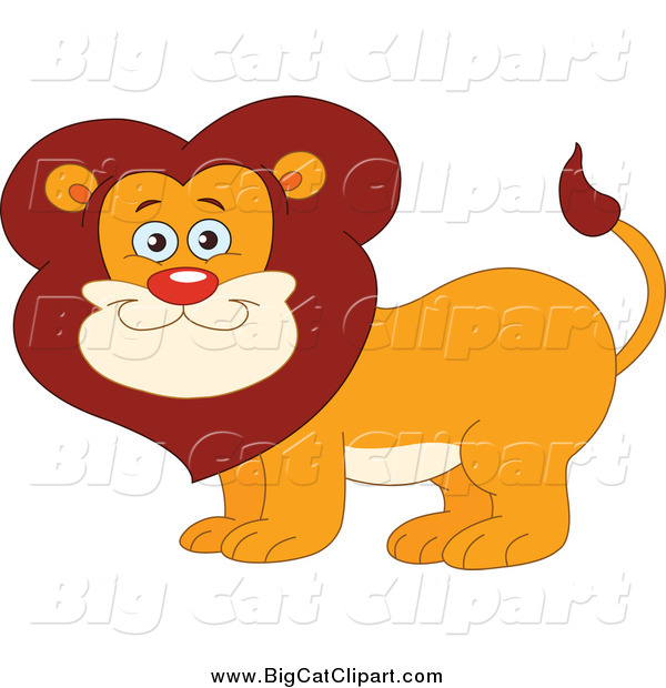 Big Cat Vector Clipart of a Happy Smiling Male Lion