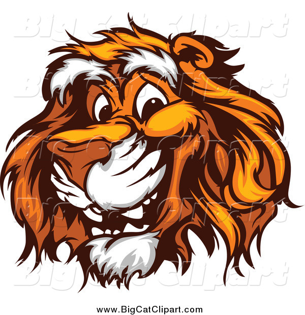 Big Cat Vector Clipart of a Happy Tiger Face