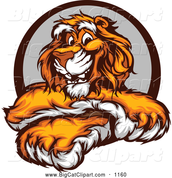 Big Cat Vector Clipart of a Happy Tiger with Crossed Paws