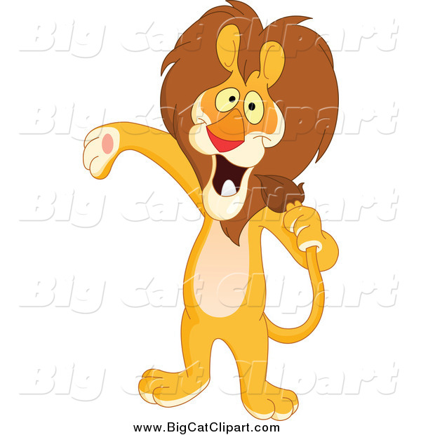 Big Cat Vector Clipart of a Host or Singer Lion Using His Tail like a Microphone and Presenting