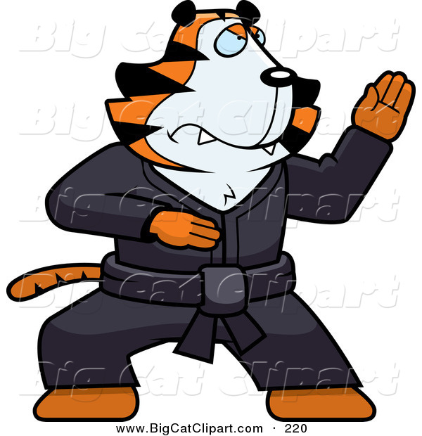 Big Cat Vector Clipart of a Karate Tiger Character in a Black Gi