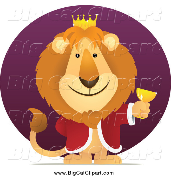 Big Cat Vector Clipart of a King Lion Holding a Goblet Against a Purple Circle