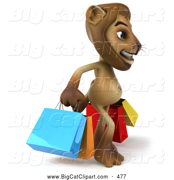 Big Cat Vector Clipart of a Lion Character Carrying Shopping Bags While Smiling