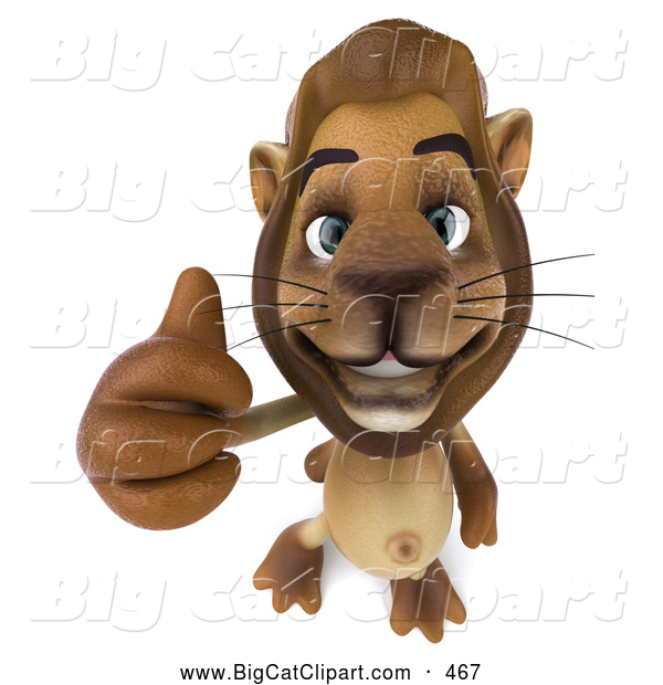 Big Cat Vector Clipart of a Lion Character Giving the Thumbs up While Smiling