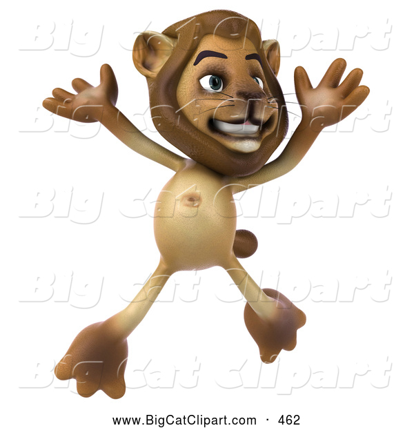 Big Cat Vector Clipart of a Lion Character Jumping While Smiling