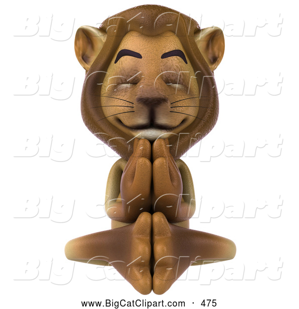 Big Cat Vector Clipart of a Lion Character Meditating and Relaxing