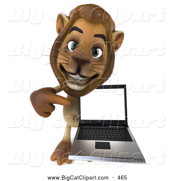 Big Cat Vector Clipart of a Lion Character Presenting a Laptop While Smiling