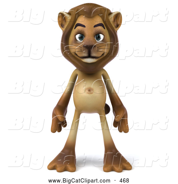 Big Cat Vector Clipart of a Lion Character Standing and Facing Front While Smiling