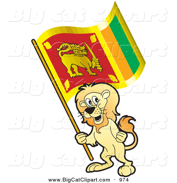 Big Cat Vector Clipart of a Lion Holding a Sri Lanka Flag