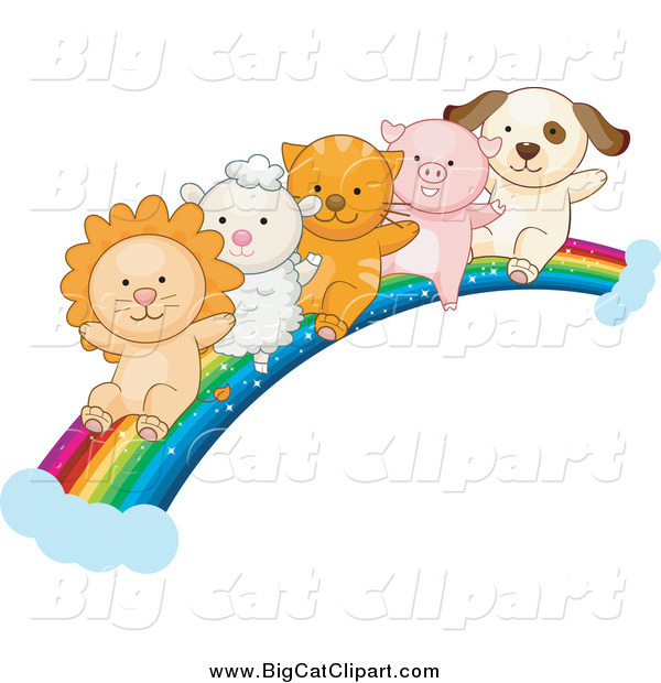 Big Cat Vector Clipart of a Lion, Lamb, Kitten, Piglet and Puppy Going down a Rainbow