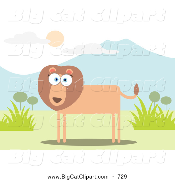 Big Cat Vector Clipart of a Lion near Mountains