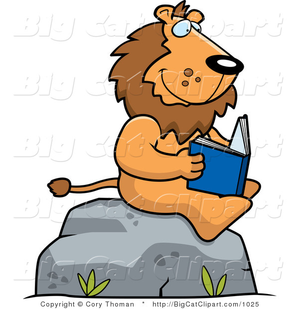 Big Cat Vector Clipart of a Lion Reading Outdoors