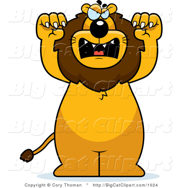 Big Cat Vector Clipart of a Mad Lion Standing Upright