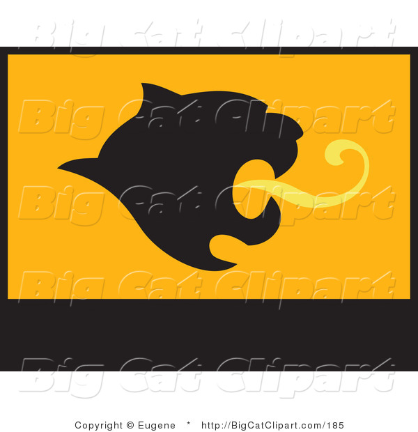 Big Cat Vector Clipart of a Mountain Lion Roaring Flag