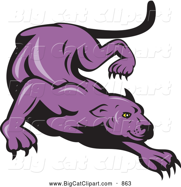 Big Cat Vector Clipart of a Purple Panther Stalking