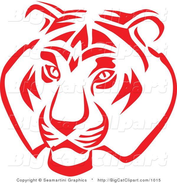Big Cat Vector Clipart of a Red and White Tiger Face