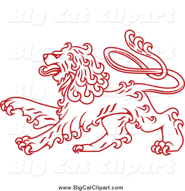 Big Cat Vector Clipart of a Red Curly Haired Heraldic Lion