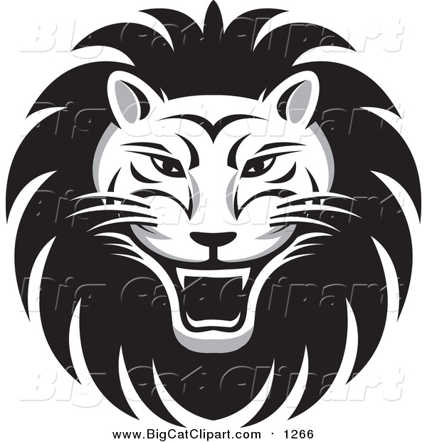 Big Cat Vector Clipart of a Roaring Male Lion Face
