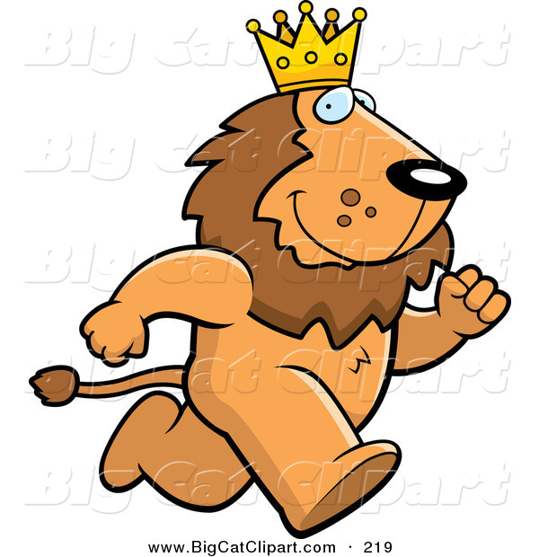 Big Cat Vector Clipart of a Running Brown King Lion Character Wearing a Crown