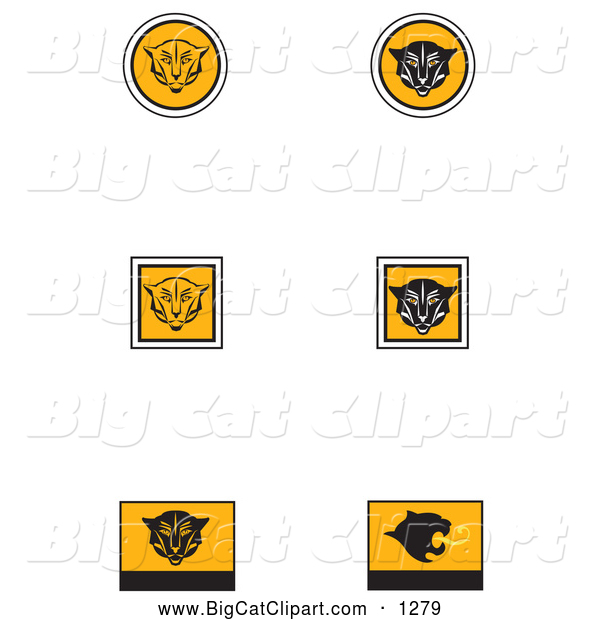 Big Cat Vector Clipart of a Set of Six Black, White and Orange Cougar or Wildcat Icons