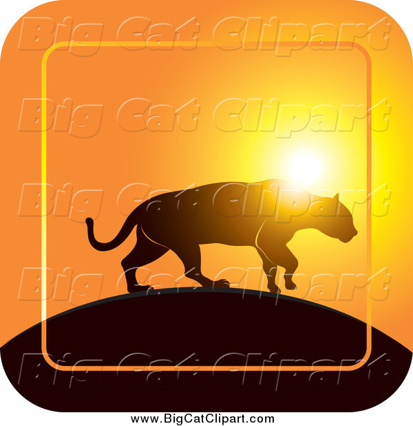 Big Cat Vector Clipart of a Silhouetted Jaguar Walking on a Hill at Sunset Icon