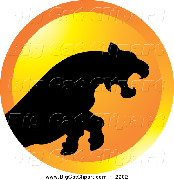 Big Cat Vector Clipart of a Silhouetted Leaping Puma or Tiger over an Orange Circle