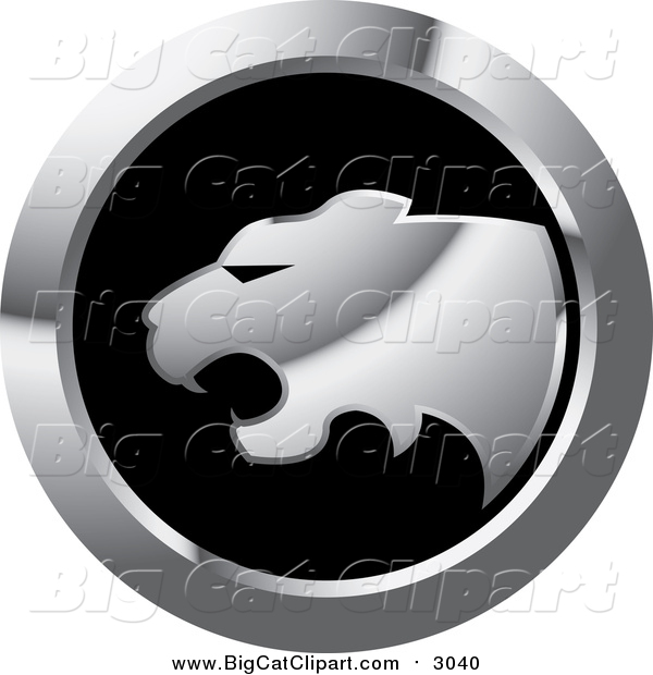 Big Cat Vector Clipart of a Silver Cheetah Icon