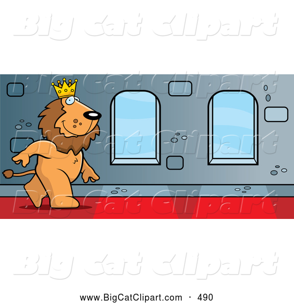 Big Cat Vector Clipart of a Smiling King Lion Character Walking down a Hallway in a Castle