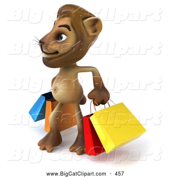 Big Cat Vector Clipart of a Smiling Lion Character Carrying Shopping Bags