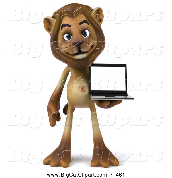 Big Cat Vector Clipart of a Smiling Lion Character Presenting a Laptop