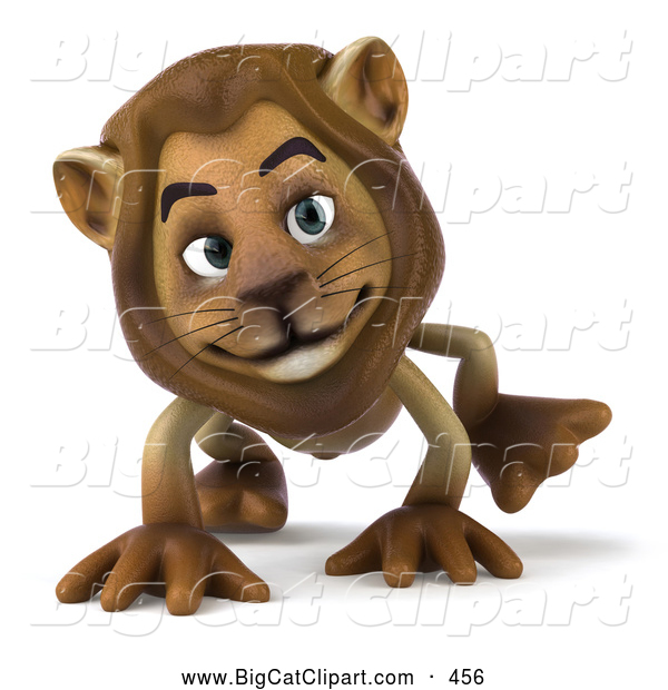 Big Cat Vector Clipart of a Smiling Lion Character Walking on All Fours