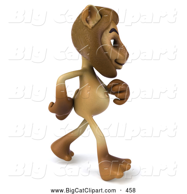 Big Cat Vector Clipart of a Smiling Lion Character Walking to the Right