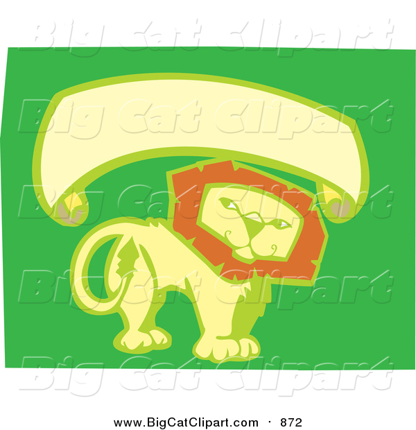 Big Cat Vector Clipart of a Smiling Lion with Blank Banner - Green, Yellow, Orange Colors