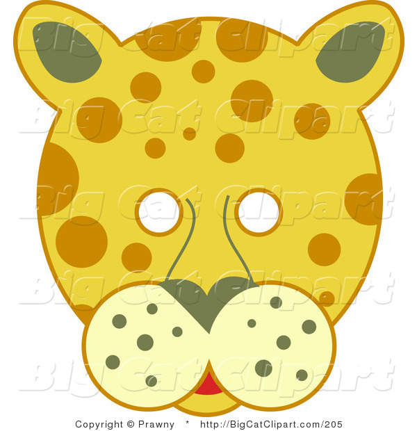Big Cat Vector Clipart of a Spotted Leopard Face with White Eyes