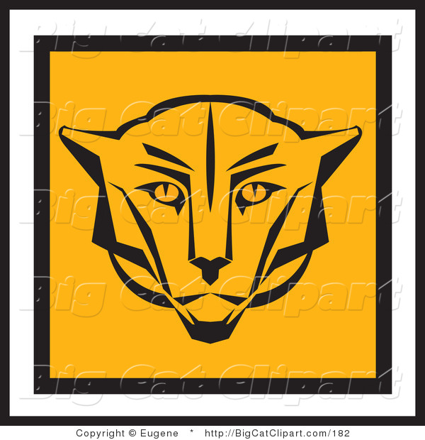 Big Cat Vector Clipart of a Square Cougar Face Design