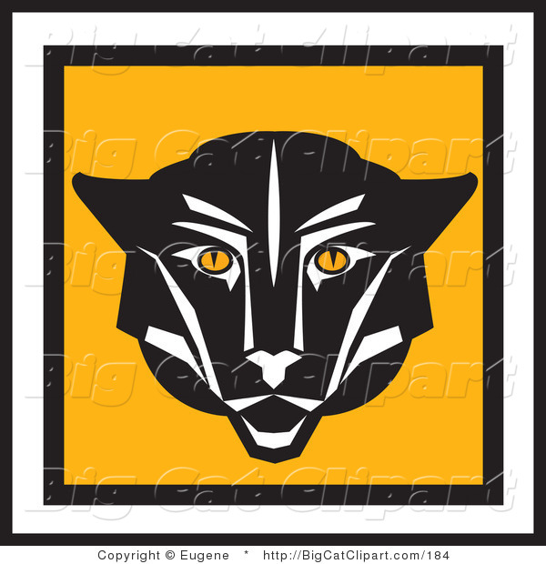 Big Cat Vector Clipart of a Square Cougar Face Icon