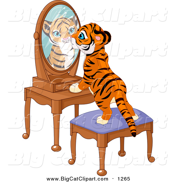 Big Cat Vector Clipart of a Tiger Cub Standing on a Stool and Looking Curiously in His Reflectin in a Mirror