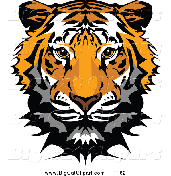 Big Cat Vector Clipart of a Tiger Mascot Head