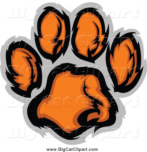 Big Cat Vector Clipart of a Tiger Paw Print in Orange and Gray