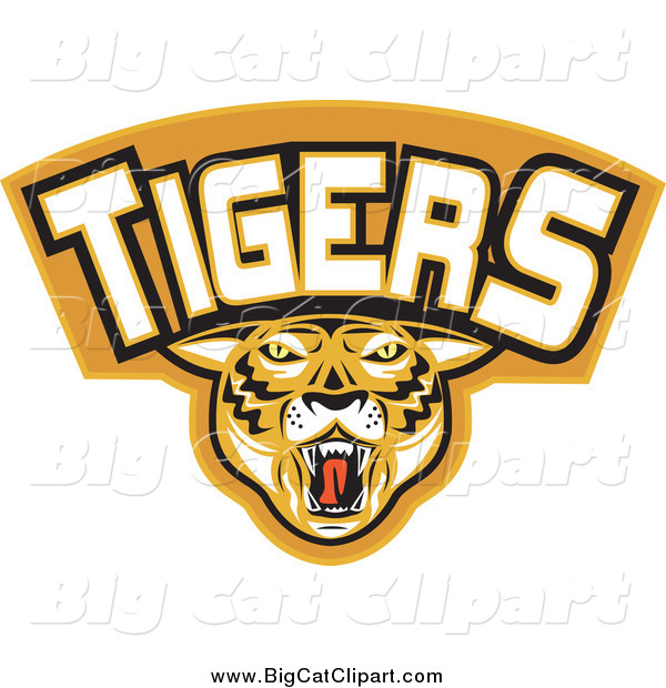 Big Cat Vector Clipart of a Tigers Sports Banner