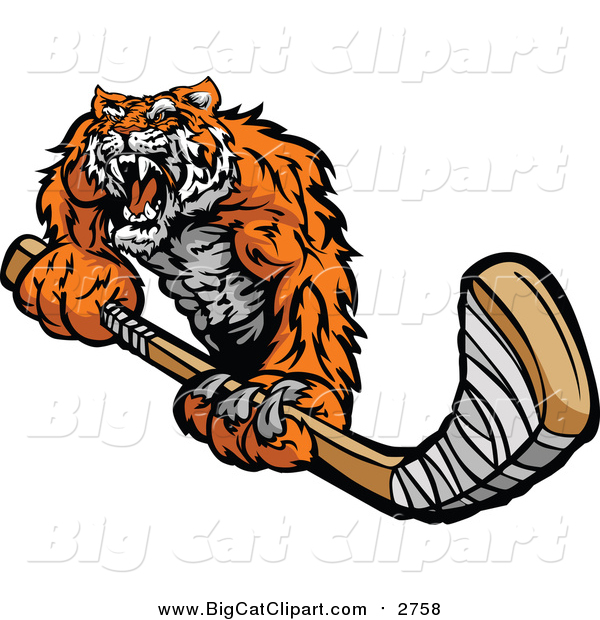 Big Cat Vector Clipart of a Tough Tiger Holding a Hockey Stick