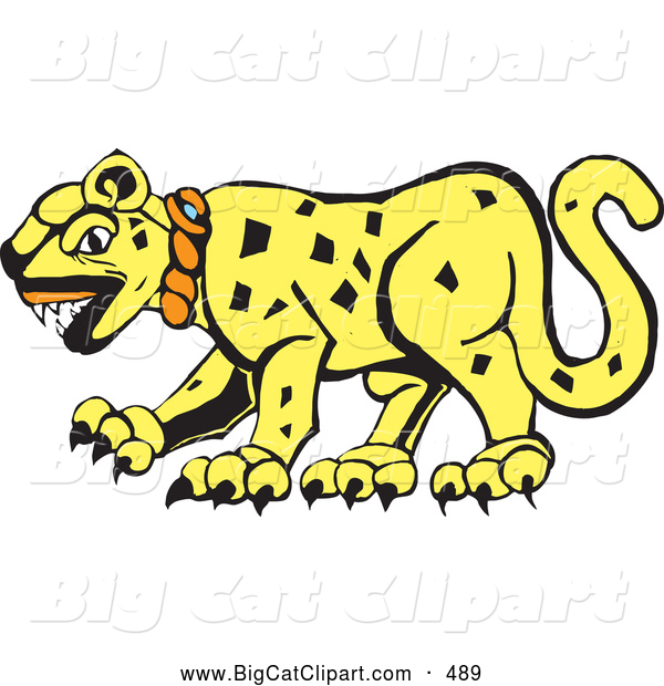 Big Cat Vector Clipart of a Tribal Designed Jaguar Cat in Profile on White
