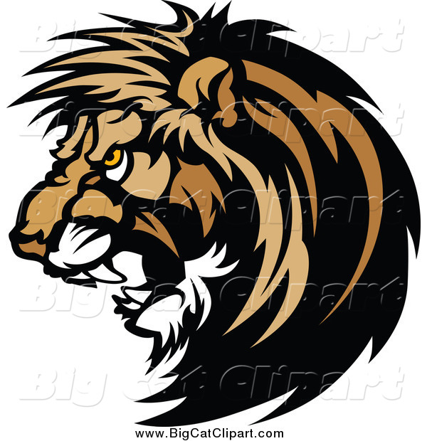 Big Cat Vector Clipart of a Vicious Male Lion Head Roaring