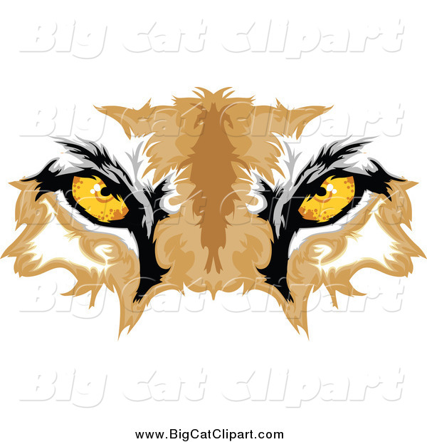 Big Cat Vector Clipart of Cougar Eyes