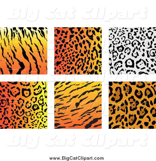Big Cat Vector Clipart of Jungle Animal Print Backgrounds