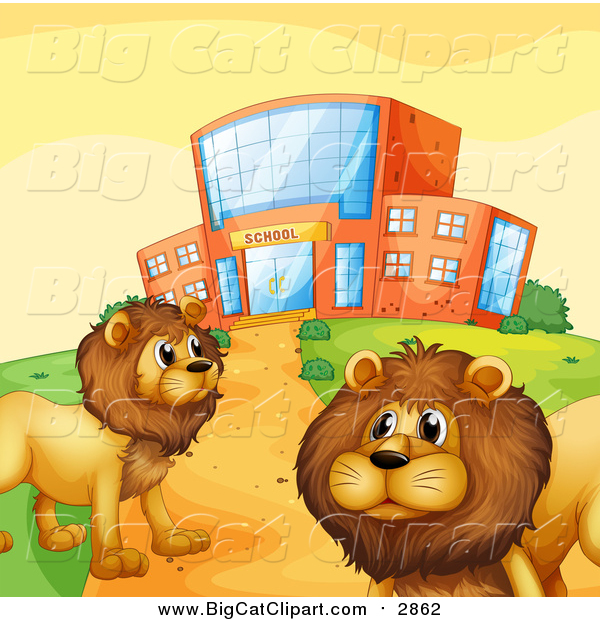 Big Cat Vector Clipart of Male Lions by a School Building